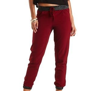 Pants - Maroon joggers with leather